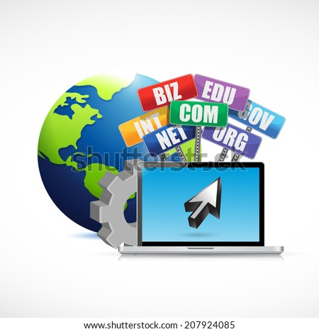 web domains signs international concept illustration design over a white background - stock photo