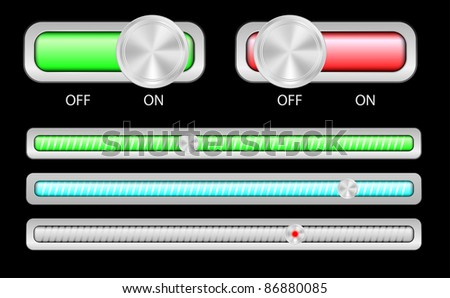 Web Elements - On and Off Switches and Slider in Different Colors