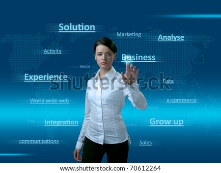 Web 2.0 Girl. Words cloud, pressing the BUSINESS. Concept of pure new technologies, finding right solution, good integration, gaining business experience, sales growing up and much more. - stock photo