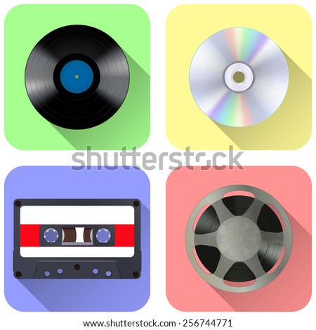 Web icon - Music storage device: tape reel, vinyl record, compact tape cassette and compact disc - stock photo