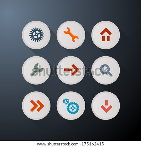 Web Icons Set on Dark Background - Also Available in Vector Version  - stock photo