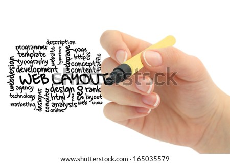 Web layout concept in word tag cloud - stock photo