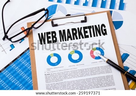 web marketing analysis concept on clipboard - stock photo