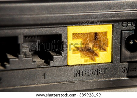 web,  no internet, Internet modem, router - stock photo
