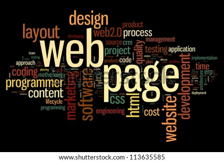 Web page concept in word tag cloud on black background - stock photo