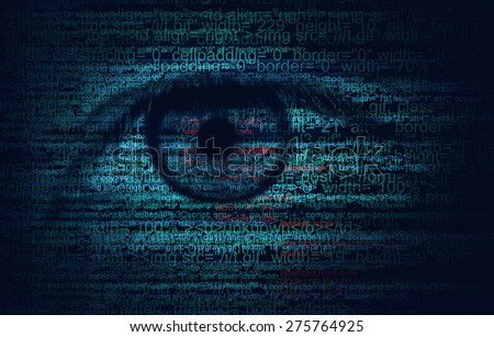 Web Program Code with Human Eye -  Blue concept Background - stock photo