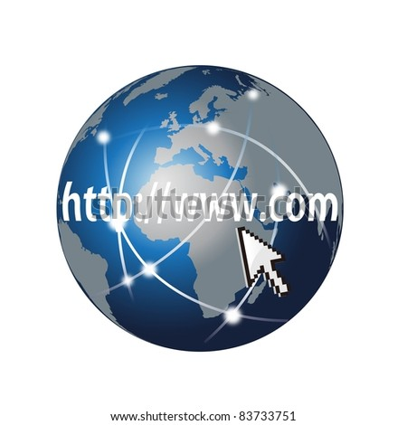 web search and global network on a white - stock photo