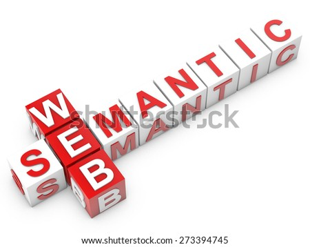 web semantic - cubes over white background - stock photo