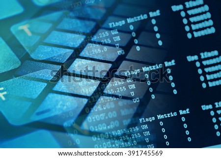 Web server data on a monitor - stock photo