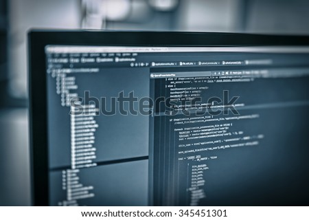 web site codes on computer monitor - stock photo