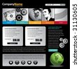 Web site design template with dollar, gears, globe & man - stock photo