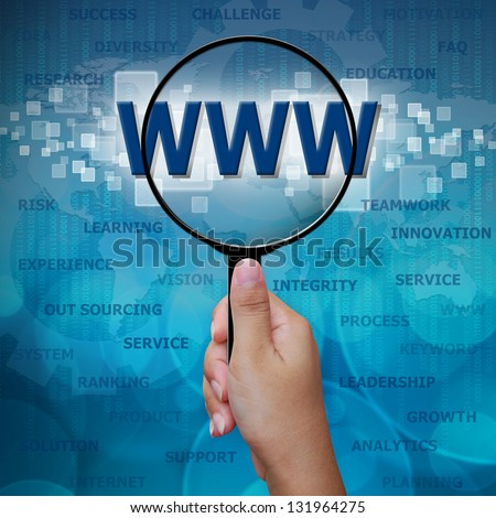Web site in Magnifying glass on blue background