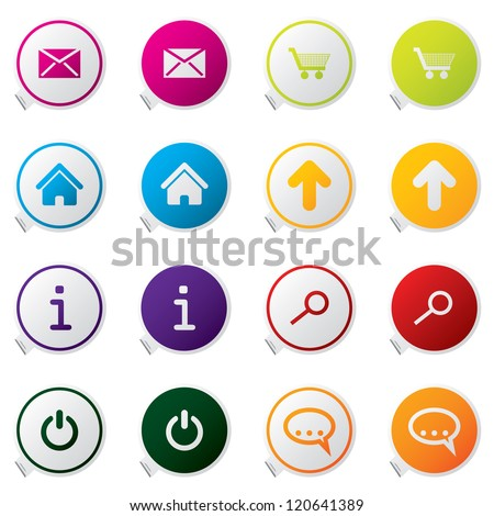 web sticker set of sixteen - stock photo