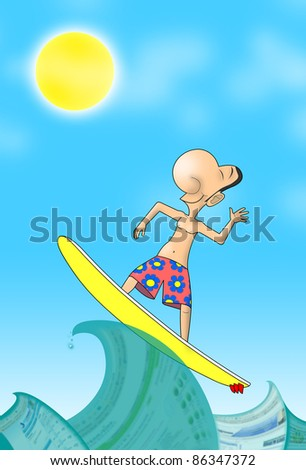 Web surfer swims on a web pages - stock photo