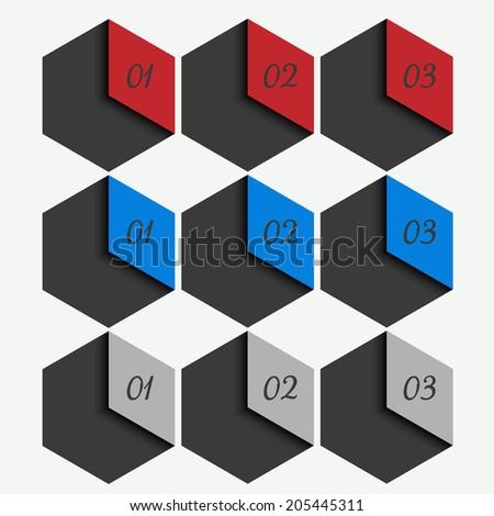 web template - webpage, website layout, hexagon design - stock photo