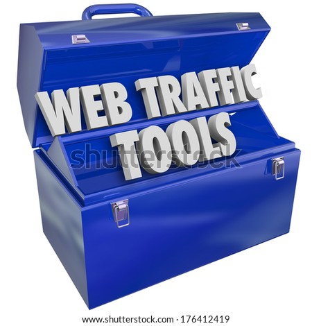 Web Traffic Tools Words in Toolbox Boost Online Visitors Customers - stock photo