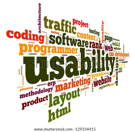 Web usability concept in tag cloud on white background - stock photo