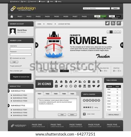 Web Website Element Design Template Grey Dark - stock photo
