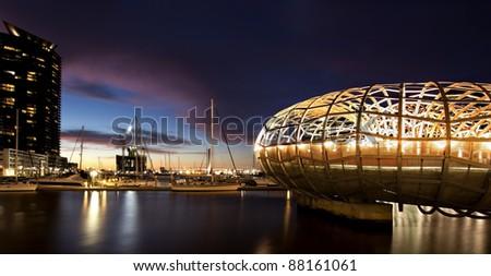 Webb Bridge, Docklands, Melbourne, Australia, at night. - stock photo