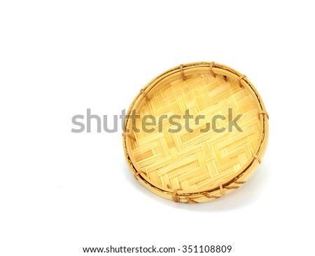 Webbed Bamboo Tray isolated on white - stock photo