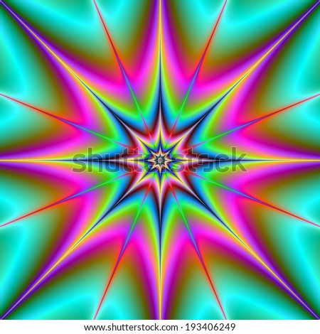Webbed Star / A digital abstract image with a webbed star design in pink, turquoise, purple, blue and yellow - stock photo