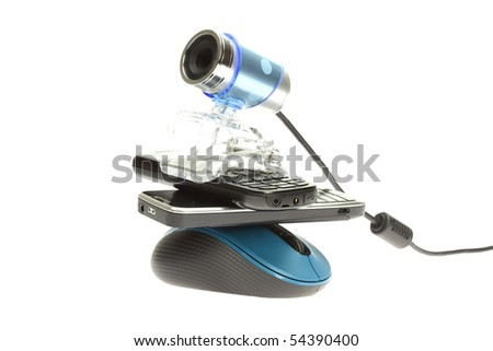 webcam cell phone isolated on white