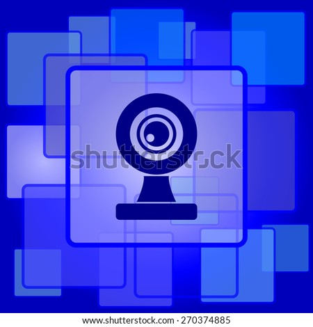 Webcam icon. Internet button on abstract background.  - stock photo