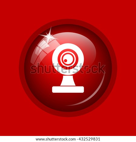 Webcam icon. Internet button on red background.