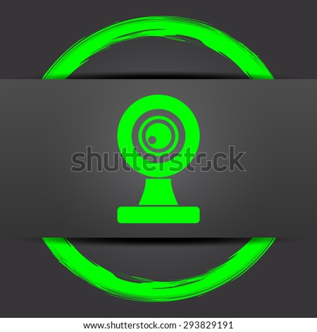 Webcam icon. Internet button with green on grey background.  - stock photo