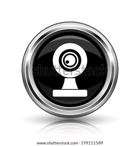 Webcam icon. Metallic internet button on white background.