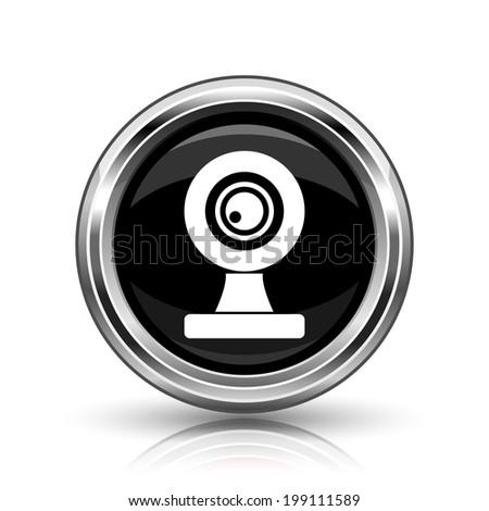 Webcam icon. Metallic internet button on white background.  - stock photo