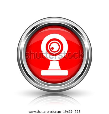 Webcam icon. Shiny glossy internet button on white background.  - stock photo
