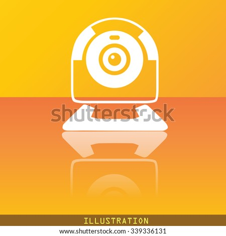 Webcam icon symbol Flat modern web design with reflection and space for your text. illustration. Raster version - stock photo