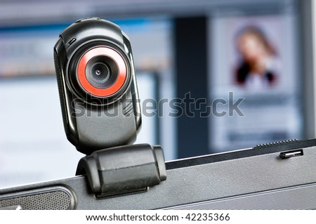 Webcam on a computer screen - stock photo