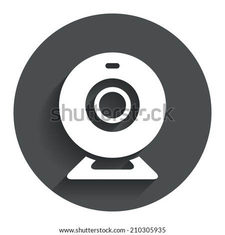 Webcam sign icon. Web video chat symbol. Camera chat. Circle flat button with shadow. Modern UI website navigation.
