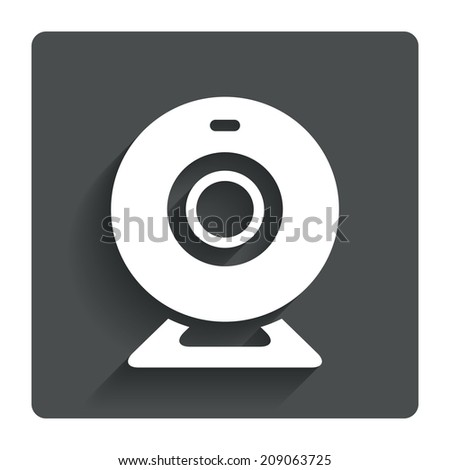 Webcam sign icon. Web video chat symbol. Camera chat. Gray flat button with shadow. Modern UI website navigation.