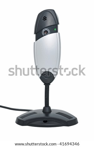 Webcamera with microphone for internet video-conference on white background - stock photo
