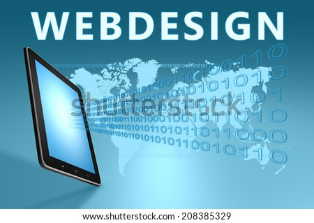 Webdesign illustration with tablet computer on blue background - stock photo