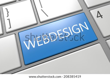 Webdesign - keyboard 3d render illustration with word on blue key - stock photo