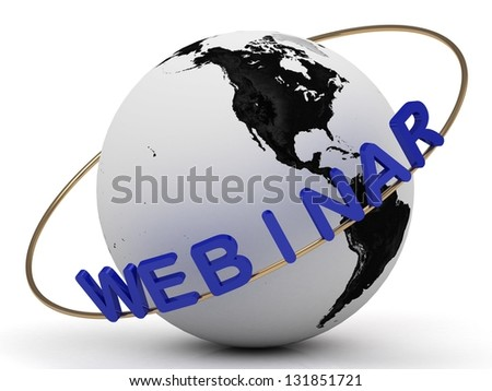 Webinar and gold ring, abstraction of the inscription around the earth - stock photo