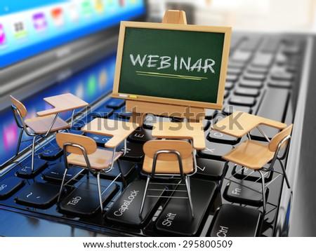 Webinar concept. Schooldesk and chalkboard on the laptop keyboard. 3d - stock photo