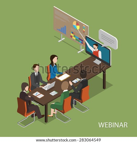 Webinar Flat Isometric Concept. People In Office at Table Listen Online Presentation. - stock photo