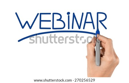 Webinar. Hand writing Webinar with blue marker on transparent wipe board. - stock photo