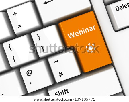 Webinar key on the computer keyboard, three-dimensional rendering - stock photo