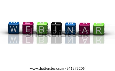 Webinar multicolor text on white background with reflexions.
