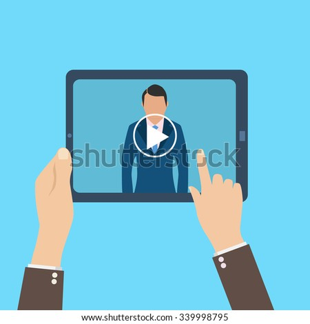 webinar, online conference, lectures and training in internet. - stock photo