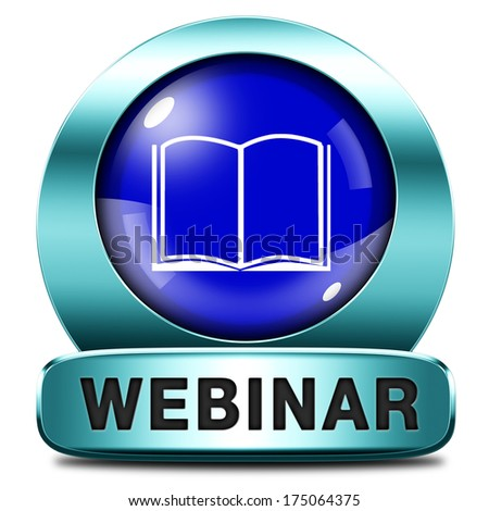 webinar online internet web video conference meeting or workshop live video chat - stock photo