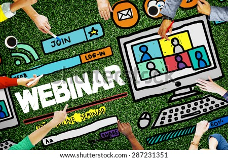 Webinar Online Seminar Global Communications Concept - stock photo