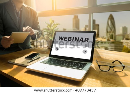 Webinar Online Seminar Global Communications Concept Thoughtful male person looking to the digital tablet screen, laptop screen,Silhouette and filter sun