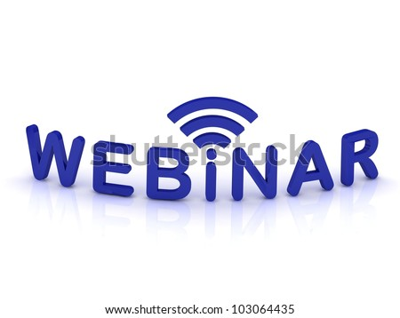 webinar sign with the antenna with blue letters on isolated white background